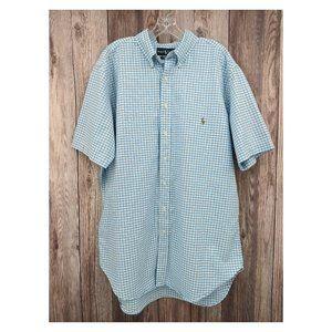 RALPH LAUREN Classic Fit Blue Gingham Shirt LT